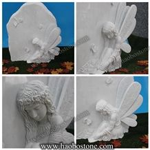 China Marble, Hunan White Marmor Angel Gravestone Honed Polished Monument Headstone Tombstone Neu Design Single Cemetery Western Style Tombstones