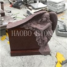 Customized Natural Stone Good Price China Haobo Indian Red Granite Sweeping Angel Monument Carved Rose with Iso9001:2000 for Cemetery Momerials