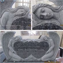 European Style Monument Blue Pearl Granite Tombstone Double Angel with Double Heart Shaped Headstone Engraved Upright Headstone