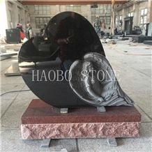 Haobo Modern India Red Granite Heart Shaped Carved Angel Memorials