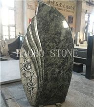 High Polished Good Service Cheap Price Modern High Polished Olive Green Granite Headstone Designs with Rose Carving with Iso9001:2000 for Memorials