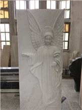 High Quality Good Price Natural Quarry Stone Customized Size Haobo China Factory Beautiful Carved Hunan White Marble Headstone Designs for Sale