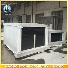 Hot Sale Haobo Stone China Grey Granite 2 Crypts Mausoleum Of Cemetery Mausoleum