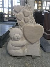 Kids Tombstone Tombstones Ocean Beige Marble Headstone Headstones Monument Monuments China Cheap Stone