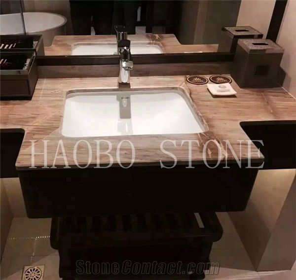 Natural Stone China Quarry Manufacturers Low Price Modern New Style Barcelona Gold Colors Marble Vanity Top Designs With Sink For Bathroom Decoration