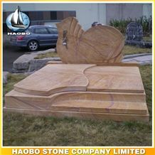 Polished Natural Stone Quarry Manufactory Brown Granite Western Style Monuments Heart Tombstones,Gravestone,Single or Double Marble Headstone