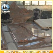 Polished Natural Stone Quarry Manufactory Red Rouge Granite Western Style Monuments Heart Tombstones,Gravestone,Single or Double Headstone