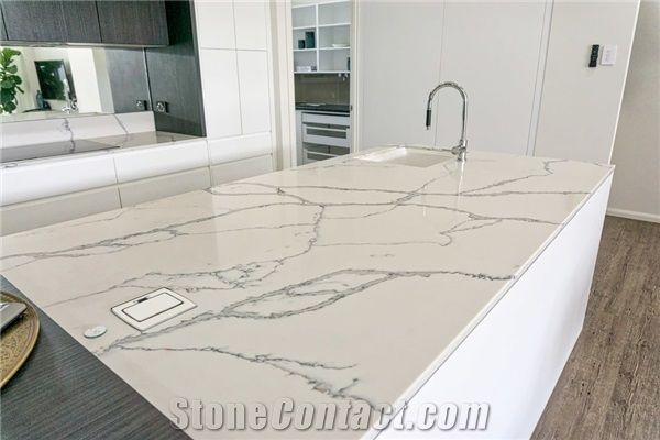 Resistance Engineered Stone Calacatta Quartz Countertop Solid Surface Sheets In 2 3cm Thick