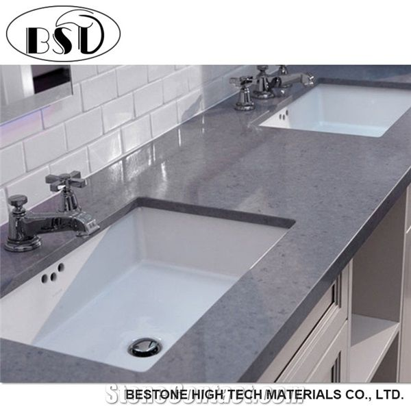 Dark Grey Veined Quartz Stone Bathroom