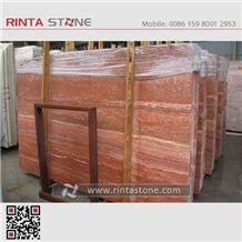 Red Travertine Rojo Caoba Alhambra Slabs