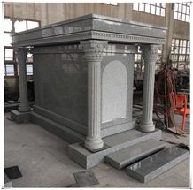 China Factory Supply Gray Granite Cemetery Mausoleum Crypts
