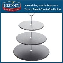 Histortstone Black Slate Dinner Plate Tiles on the Desk Decoration the Food