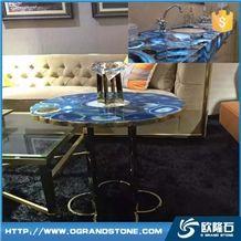 Luxury Blue Agate Slab Tile Semiprecious Stone Slabs Blue Agated Backlit Table Tops