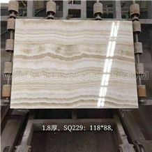 China White Tiger Onyx Slabs Marble Tile