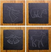 Black Slate Coaster, Square Slate Coaster for Sale