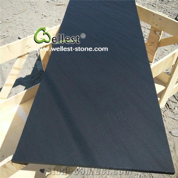 Natural Riven Black Slate Fireplace Panel Fireplace Hearth Slabs
