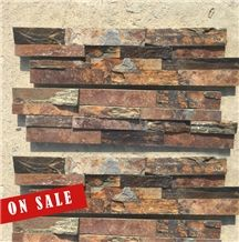 Roufh Natural Surface Sunset Rust Red Slate Stacked Ledge Stone, Cultured Stone