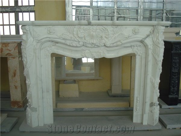 China Natural Stone Fireplaces White Marble Sculptured