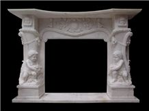China Pure Whtie Marble Handcarved Flower Sculptured Fireplace Price