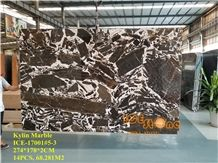 Chinese Antique Rive Brown Polished Marble Tiles & Slabs/China Kylin Black White Wall Floor Covering/Cheap Price Quantity Project/Cream Chocolate