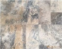 Silver Travertine Tumbled French Pattern Pavers