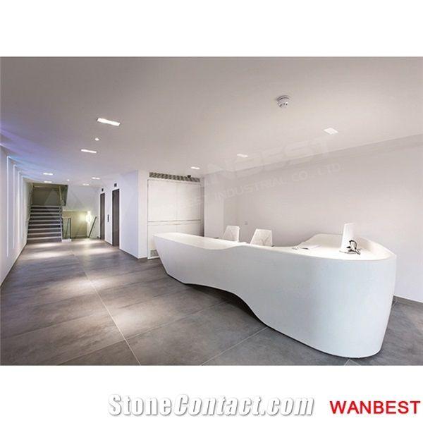 Fancy Design Artificial Stone Office Hotel Lobby Reception Desk