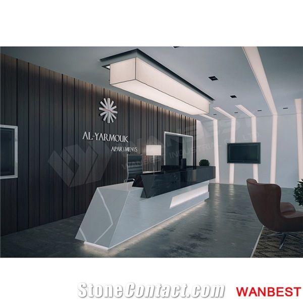 Luxury Artificial Marble Led Company Spa Lobby Reception Desk Design