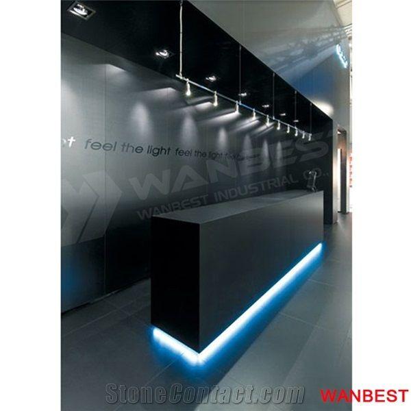 Modern Black Led Solid Surface Nail Salon Office Hotel Reception Desk
