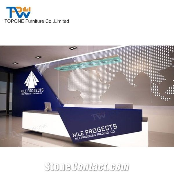Home Tabletops Reception Artificial Marble Stone Hotel Office Lobby Counter Design Interior Acrylic Solid Surface Desk