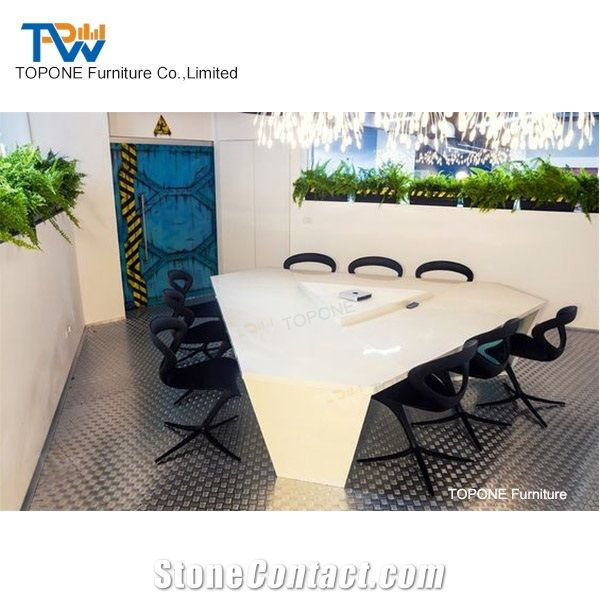 Small Triangle White Artificial Marble Stone Conference Room Board Table Tops Interior Acrylic Solid Surface Meeting