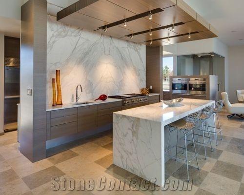 Calacatta Gold Marble Modern Kitchen Islands Top ...