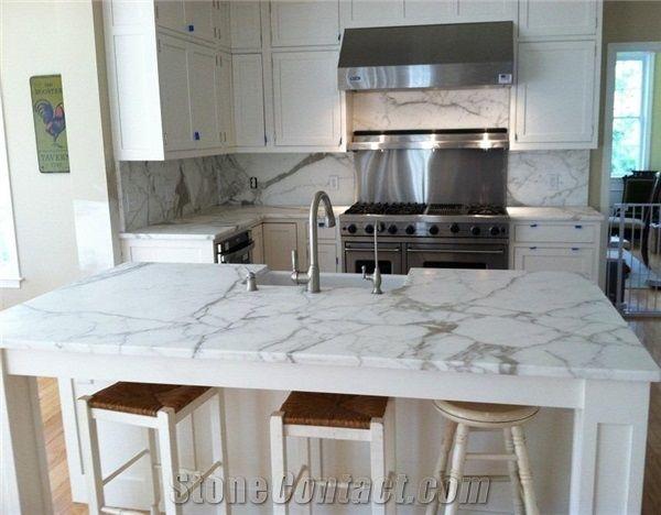Calacatta Gold White Marble Modern Kitchen Countertop ...