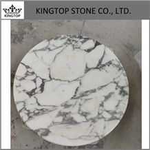 Italy Arabescato White Marble Round and Square Table Top with Plywood