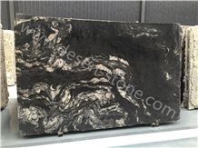 Titanium Granite Slabs&Tiles, Cosmic Black Titanium/Titanium Mc/Tianium Black/Matrix Titanium/Cosmic Black/Black Cosmic/Cosmic Night Granite Slabs