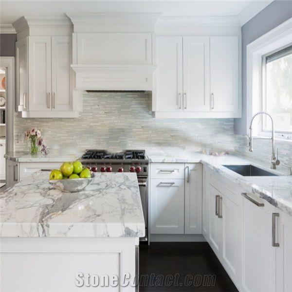 Italy Carrara White Marble Kitchen Countertop Bianco