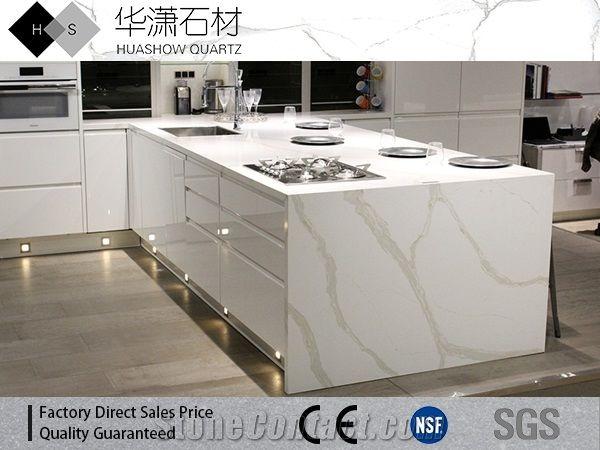Calacatta White Quartz Series Island Top From China Stonecontact