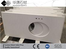 Pure White Quartz Stone Customized Exporting Countertop,Bath Top Vanity Top