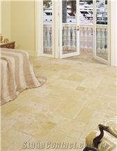Hauteville Limestone Versailles Pattern Flooring, Tumbled, Chiseled Edge
