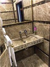 Egyptian Emperador Bathroom Wall, Vanity Top