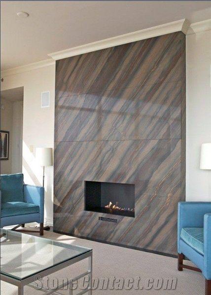Elegant Brown Quartzite Modern Style Fireplace Surround