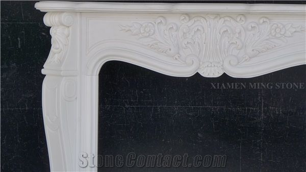 A Quality Oriental White Marble Fireplace Hearth Fireplace Mantel For
