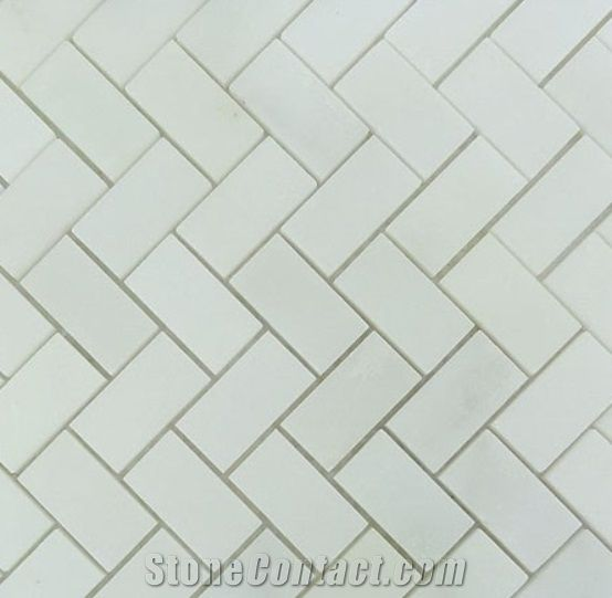 White Marble Herringbone Mosaic Tile Bathroom Floor Backsplash Kitchen