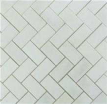 White Marble Herringbone Mosaic Tile,Bathroom Floor,Backsplash,Kitchen