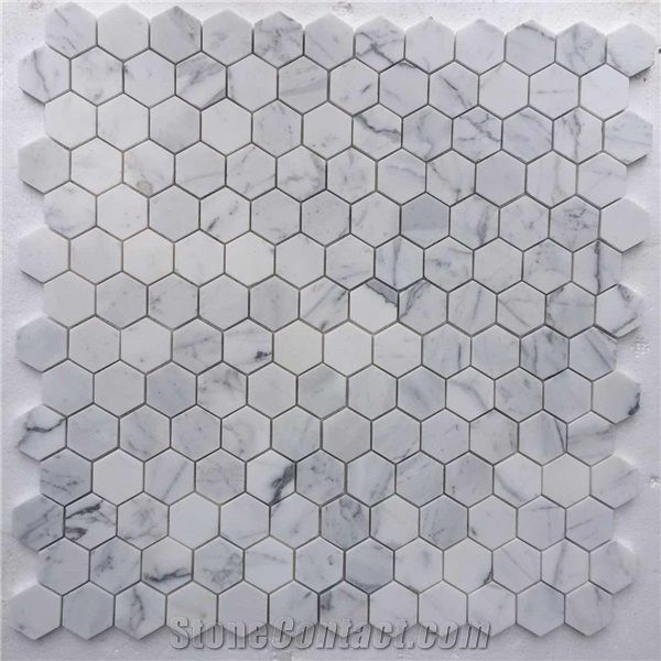 Whole White Marble Hexagon Mosaic