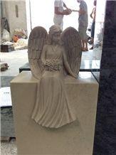 Beautifullycarved Tombstone Ocean Beige Headstone Gravestone
