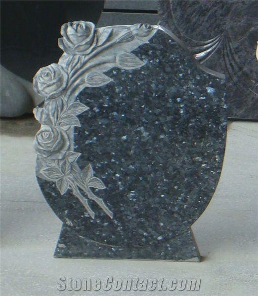 Blue Pearl Granite Tombstone Design Flower Carving