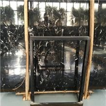 Customized Cut to Size Best Price Natural Stone Black Ice Flower Marble Slab with Beautiful Vein for Indoor Decoration