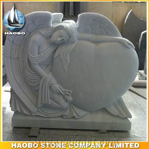 Headstone White Marble Angel Sculpture Etching Tombstone