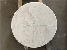 Bianco Carrara White Marble Interior Round Tabletop