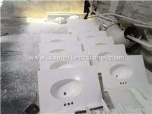 Cultured Marble White Vanity Tops One Sink with Integral Backsplash